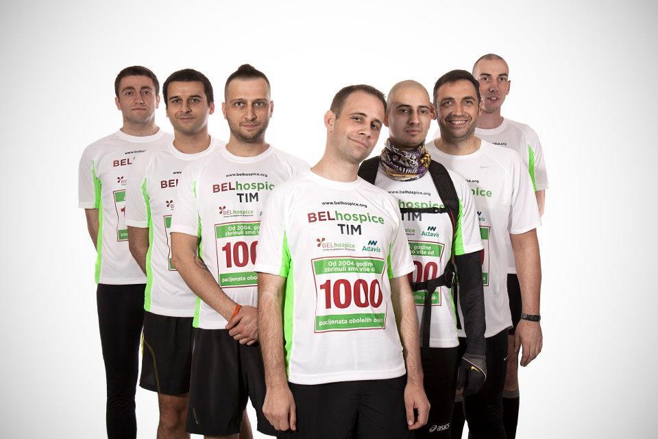 Muški deo ekipe BELhospice tima: (s leva Nikola, Ivan, Sale, Dragan, Ivan, Zeka, Nemanja)